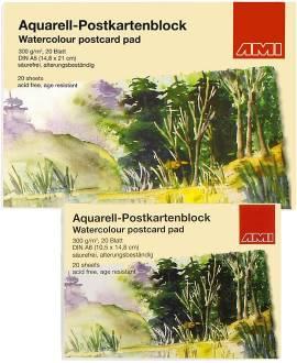Aquarell-Postkartenblock, 20 Blatt, 300g - Bild vergrößern