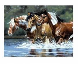 Pferde im Fluß, 30 x 40 cm - Bild vergrößern