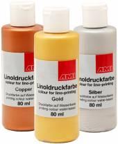 Aqua-Linoldruckfarbe Metallic 80 ml
