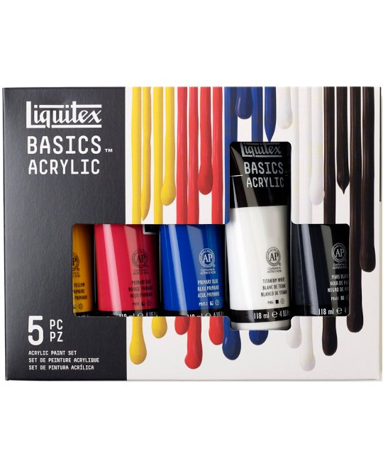 Liquitex Basics Acryl Color, Set 5 x 118 ml Tube